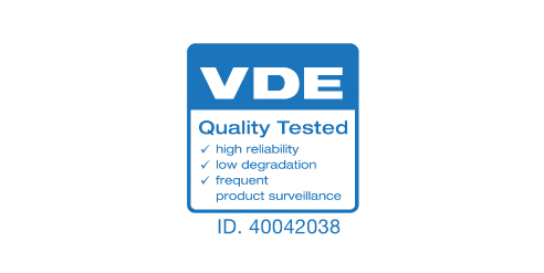 VDEの厳しい品質テストにて認証を取得